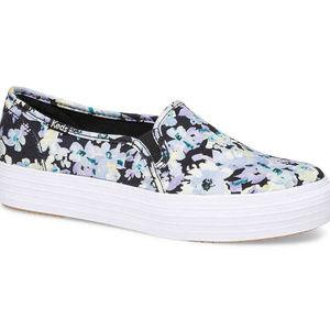 Keds Triple Decker Black Floral Slip On Shoes